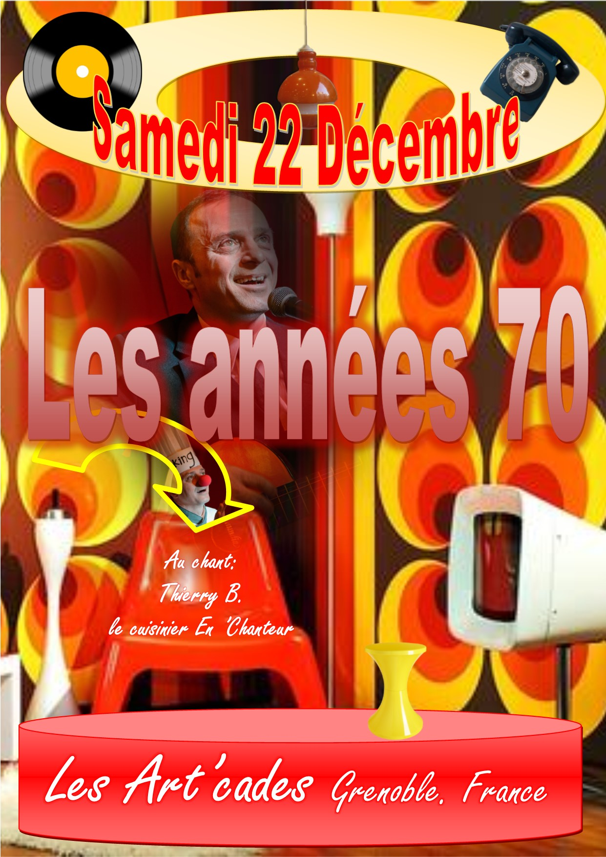 POSTER diner-spectacleANNEES70 22DECEMBREbre2018